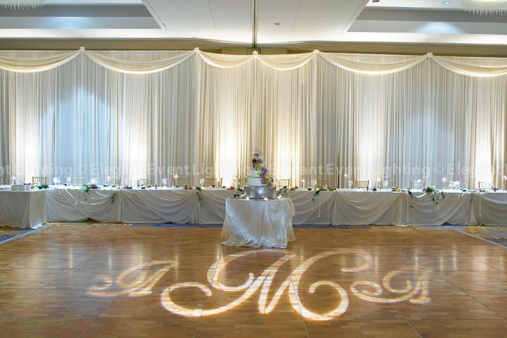 White Wedding Backdrop Lighted Floor Monogram