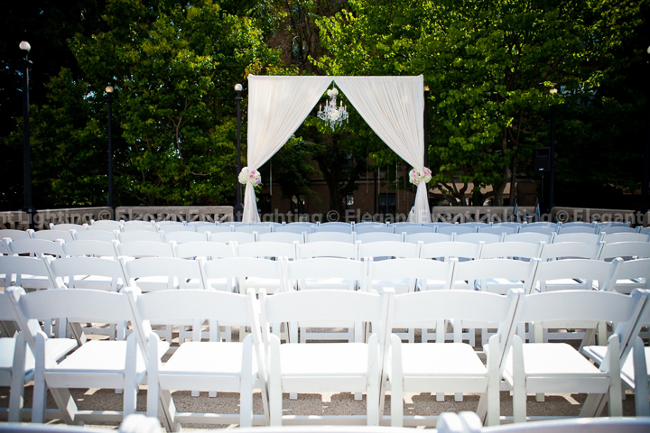 Outdoor White Wedding Ceremony Arch Crystal Chandelier