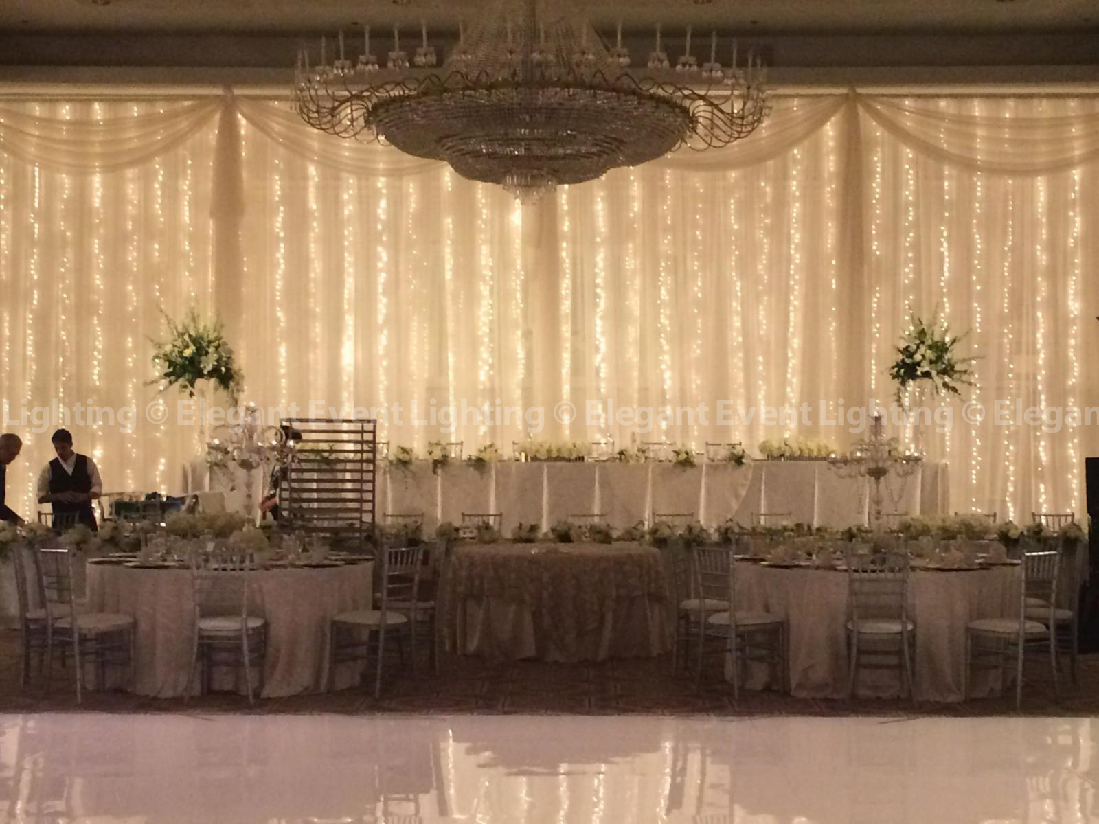 Decorative lights for weddings - Signature Fairy Light Head Table Backdrop Drury Lane