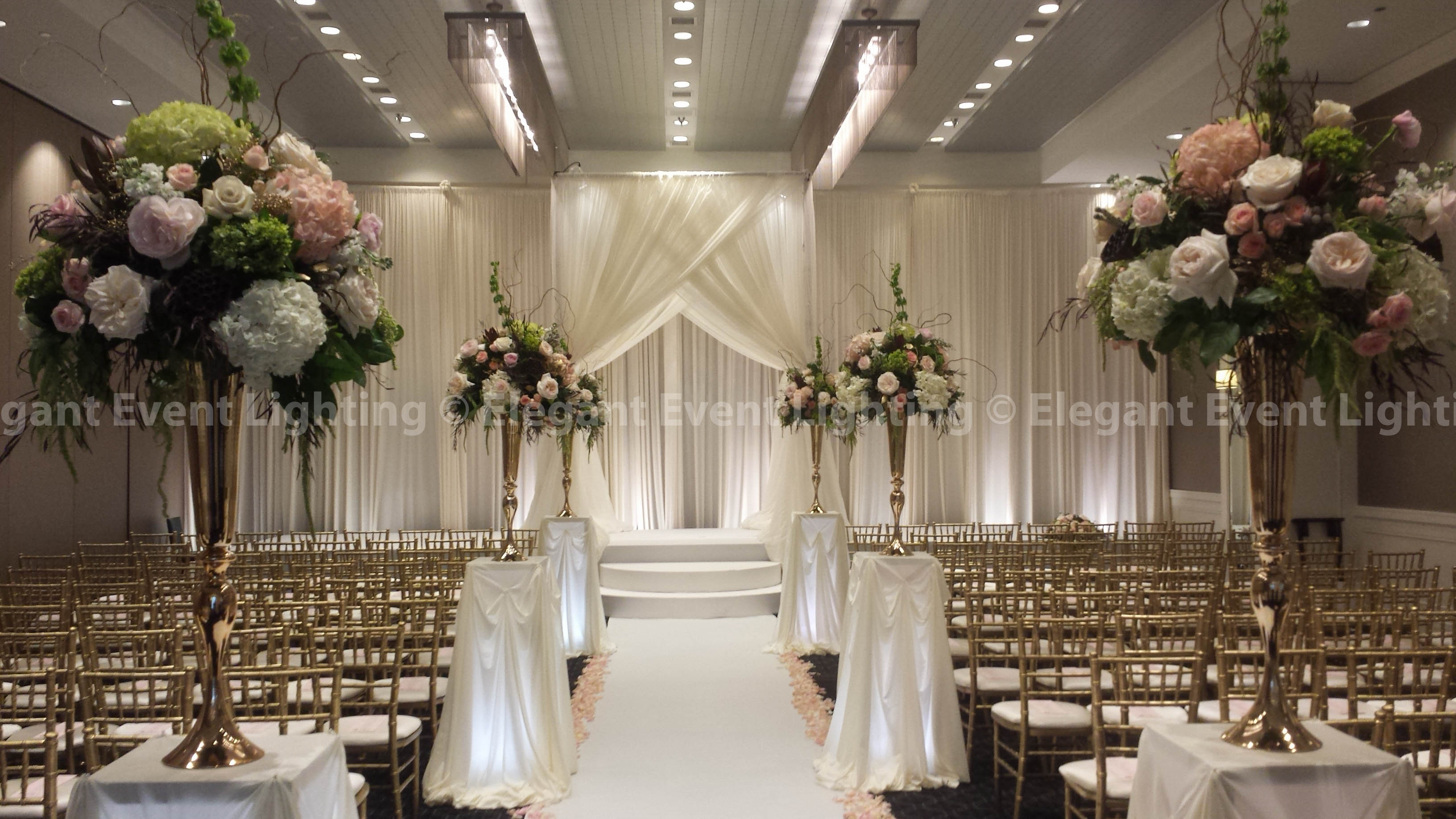 ceremony backdrop bridal canopy lighted flower pedestals