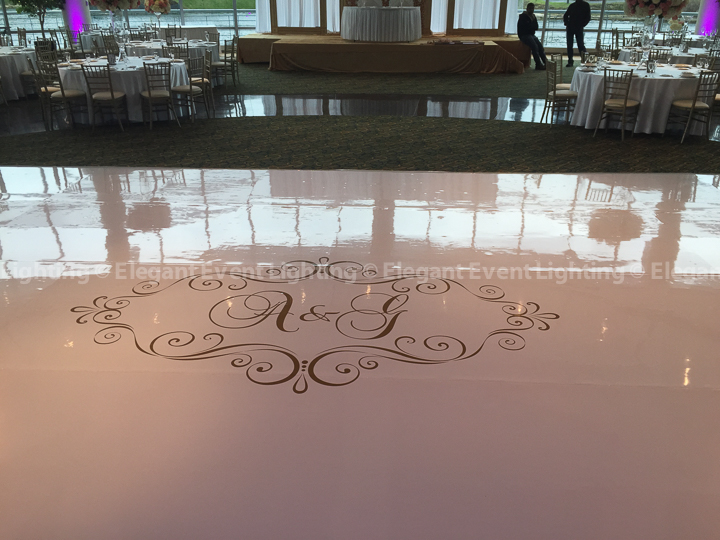White Dance Floor & Custom Monogram | Esplanade Lakes