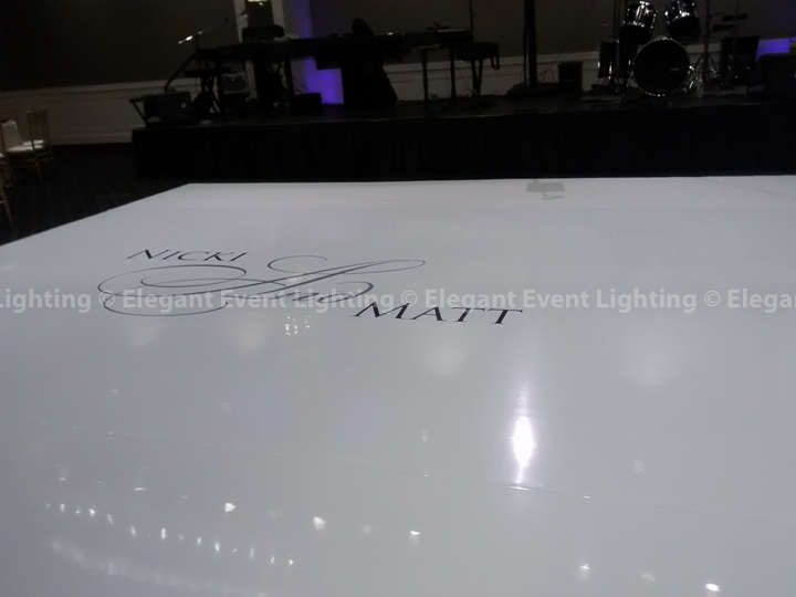White Dance Floor & Custom Monogram | Hotel Arista