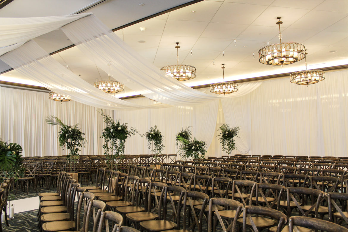Elegant_Event_Lighting_Chicago_Edgewater_Wisconsin_Wedding_White_Drapes_Ceiling_Greenery