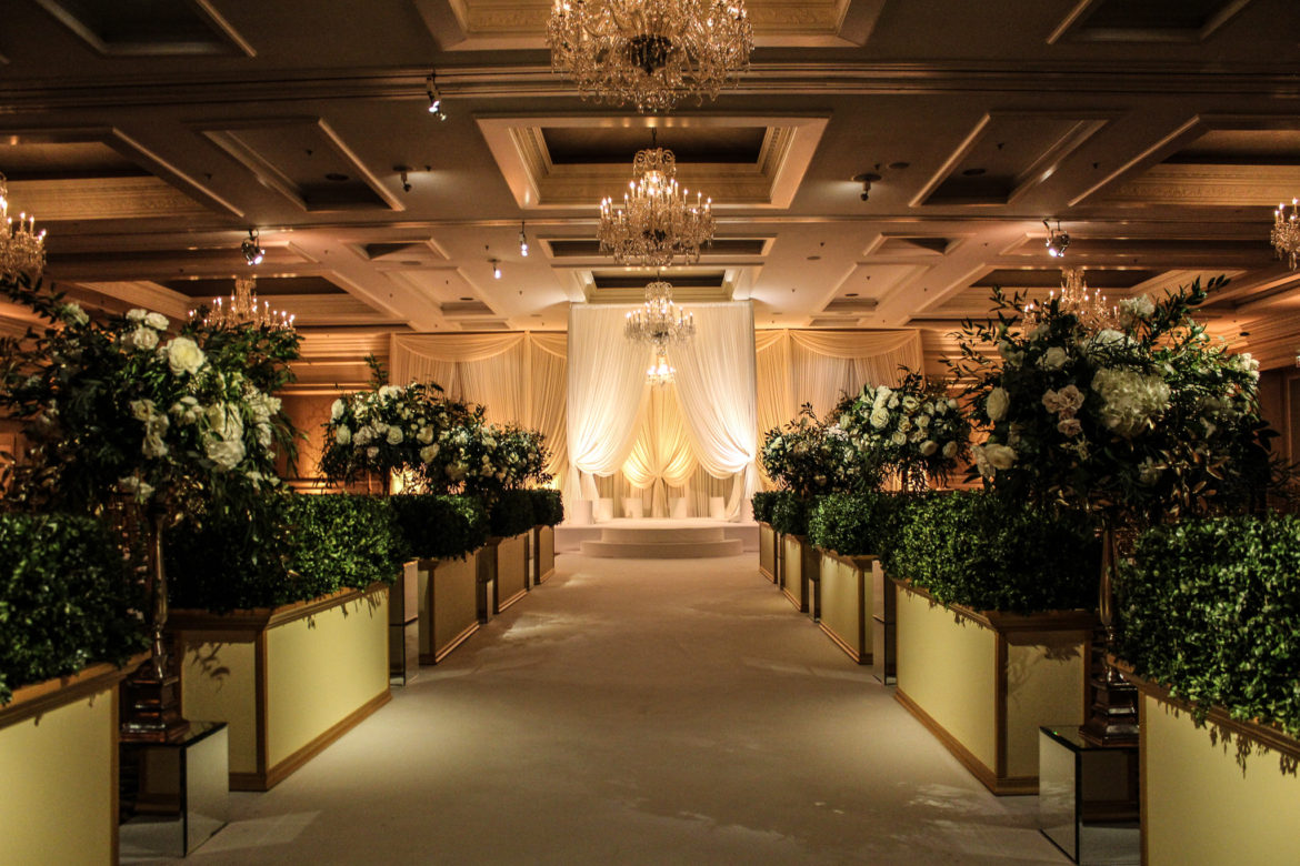 Elegant_Event_Lighting_Chicago_Four_Seasons_Wedding_Aisle_Runner_Stage_Cover_BAckdropFlower_Lighting_Bridal_Canopy
