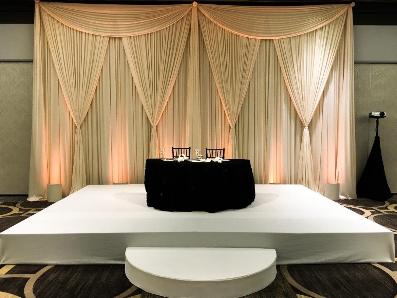 Elegant_Event_Lighting_Chicago_Hilton_Oak_Brook_Wedding_Stage_Cover_Ivory_Backdrop_Reception_Moon_Steps