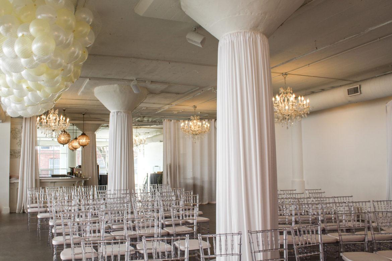 Elegant_Event_Lighting_Chicago_Room_1520_Wedding_Column_Draping_White_Balloon_Drop