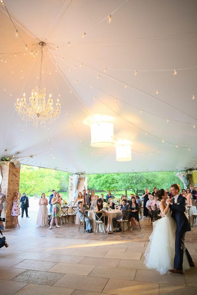 Elegant_Event_Lighting_Chicago_Botanic_Gardens_Wedding_First_Dance_Cafe_Globe_String_Lighting_Crystal_Chandelier