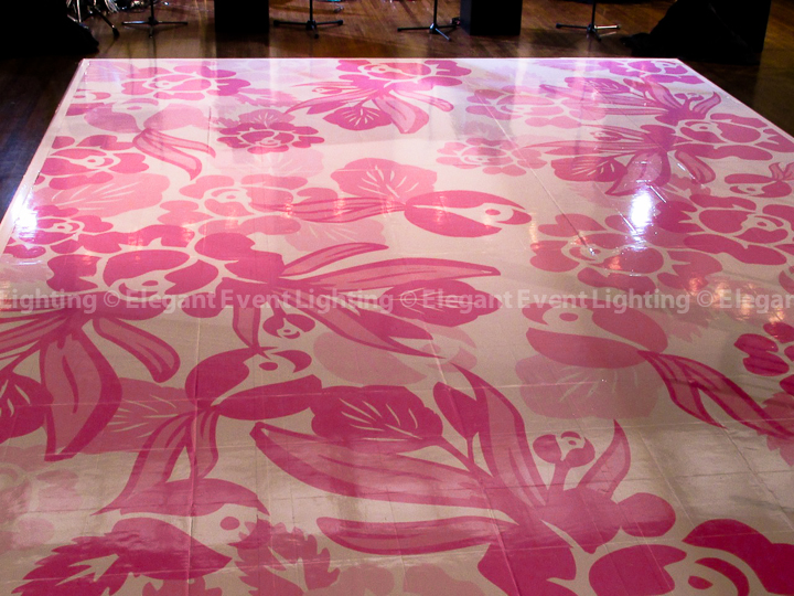 White Dance Floor with Pink Floral Overlay