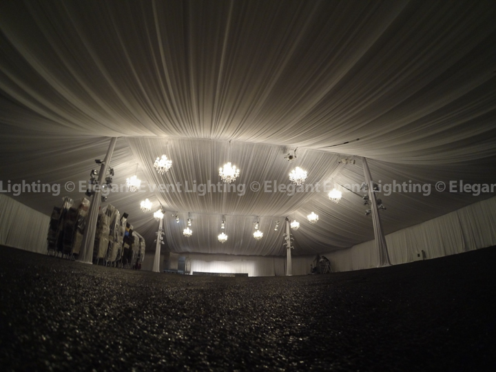 Wedding Tent Draping & Chandeliers | Riverside Golf Club