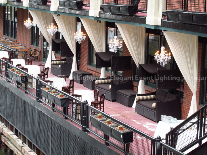 Fulton's on the River Crystal Chandeliers and Veranda Draping