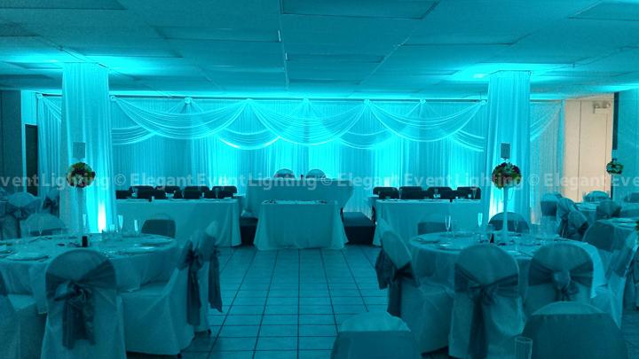 White Backdrop & Malibu Blue Uplighting | Garfield Park Community Worship Center
