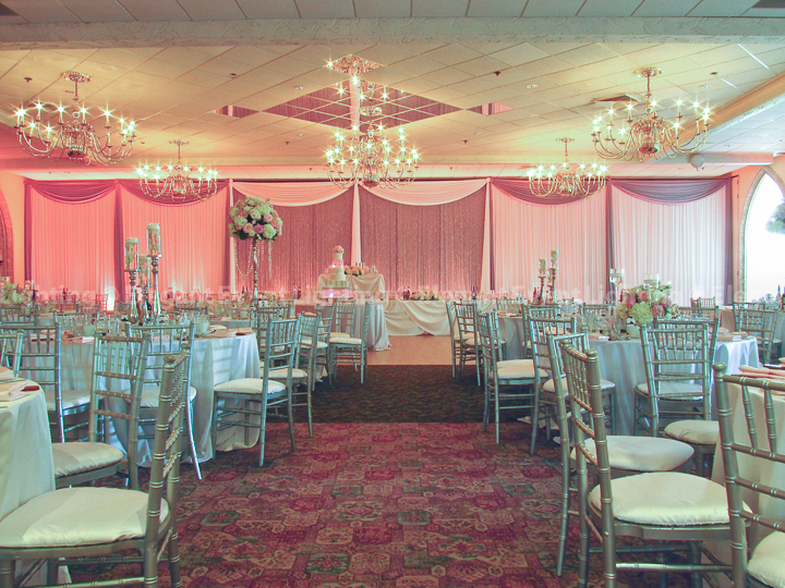 Crystal Curtain Backdrop & Pink Uplighting | Belvedere Chateau