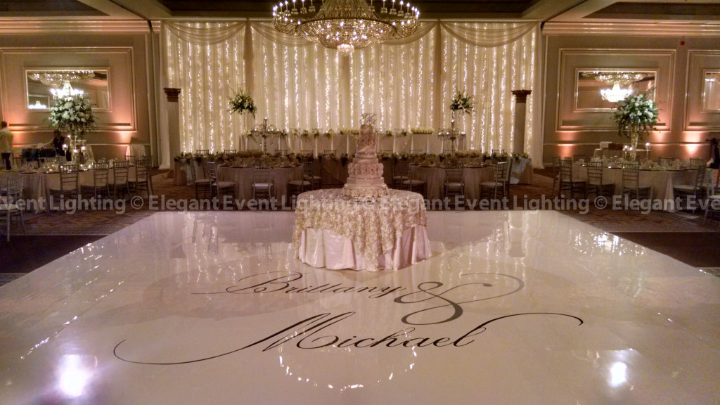 Ivory Dance Floor, Custom Monogram & Fairy Light Backdrop | Drury Lane