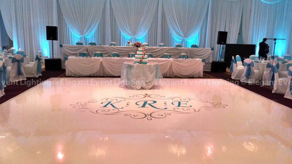 White Dance Floor & Custom Monogram | Elements Conference & Banquet Center