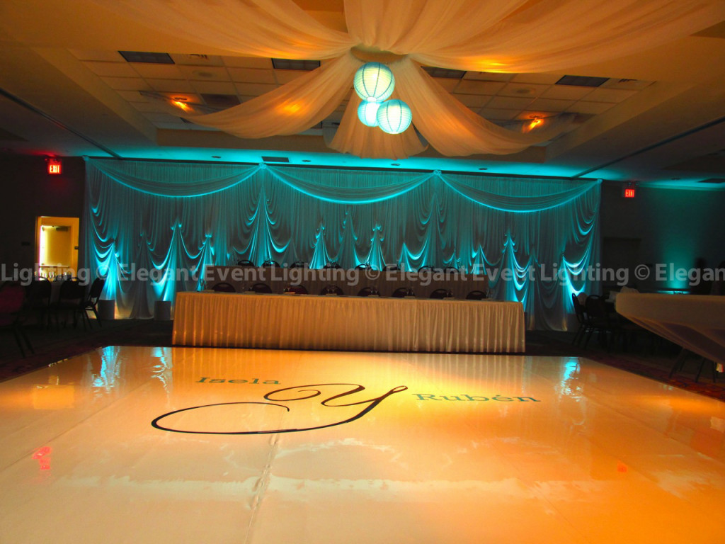 White Dance Floor, Backdrop, Uplighting & Ceiling Canopy with Paper Lanterns | Hilton Garden Inn St. Charles