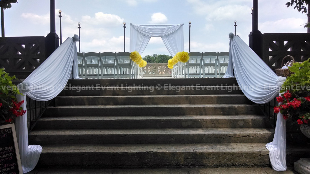 Hotel Baker Rose Garden   Ceremony Arch & Staircase Draping