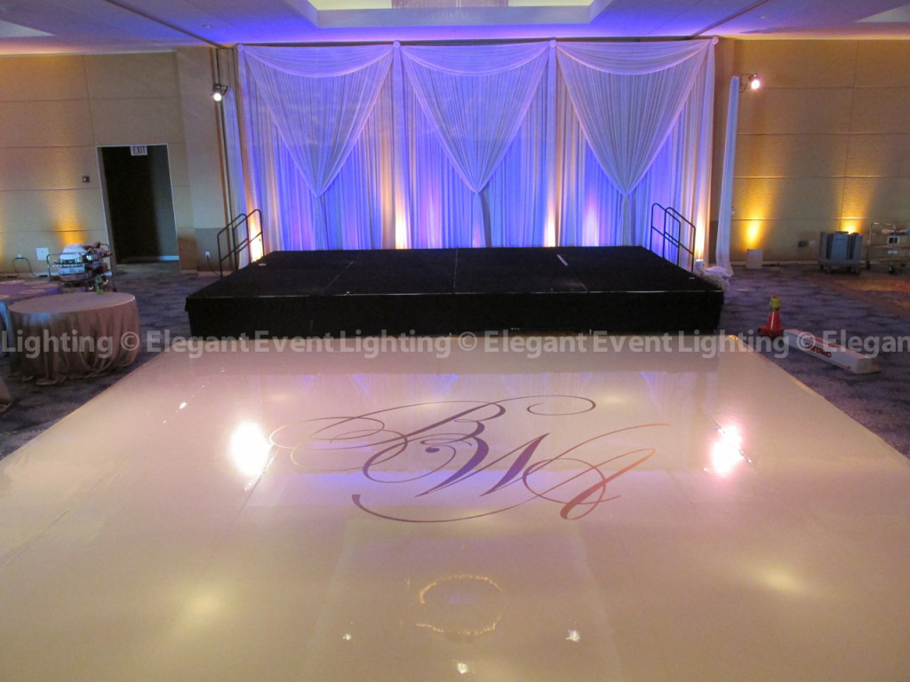 Renaissance Schaumburg Nirvana Ballroom - White Dance Floor, Monogram and Stage Backdrop
