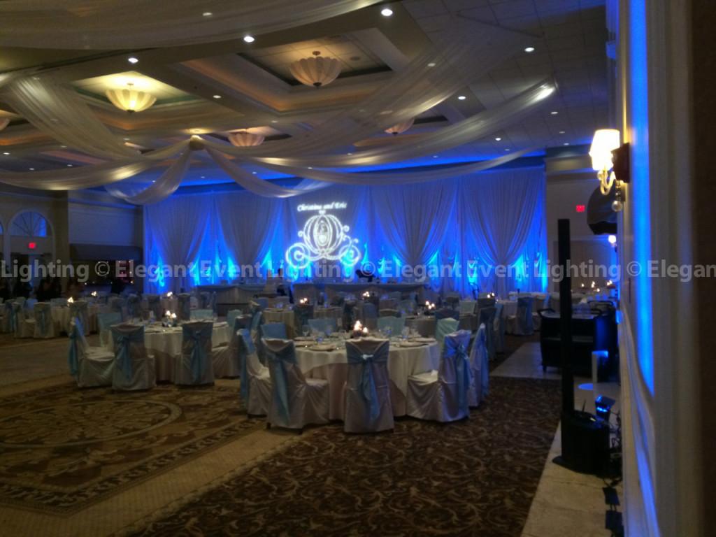 Venuti's Wedding - Verona Ballroom Backdrop, Uplighting & Ceiling Draping
