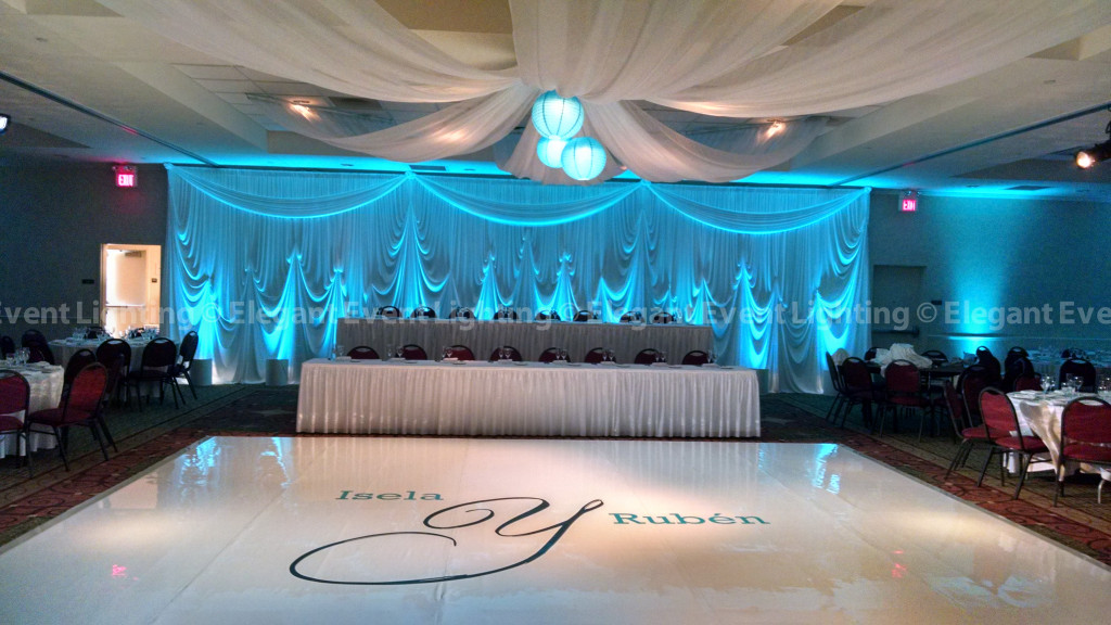 Backdrop, Ceiling Canopy & White Dance Floor | Hilton Garden Inn St. Charles