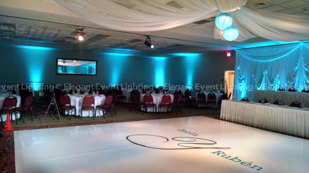 Perimeter Uplighting, Ceiling Draping and White Dance Floor | Hilton Garden Inn St. Charles