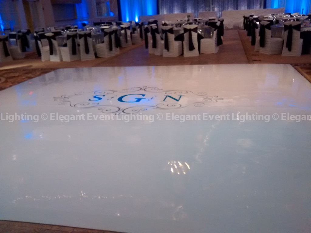 White Dance Floor & Custom Monogram | Venuti's