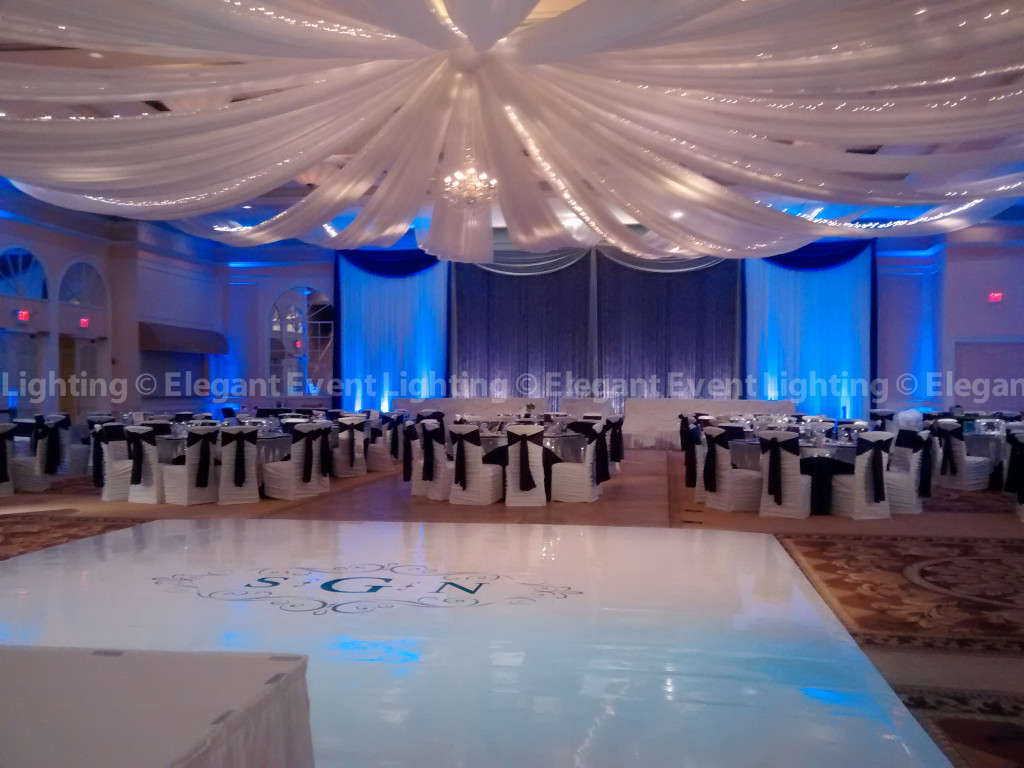 Ceiling Canopy, Crystal Curtain Backdrop & White Dance Floor | Venuti's