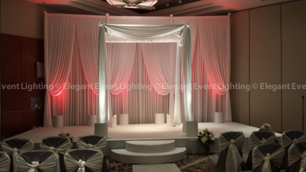 Chuppah, Ceremony Backdrop & Red Uplighting | Embassy Suites Columbus Drive