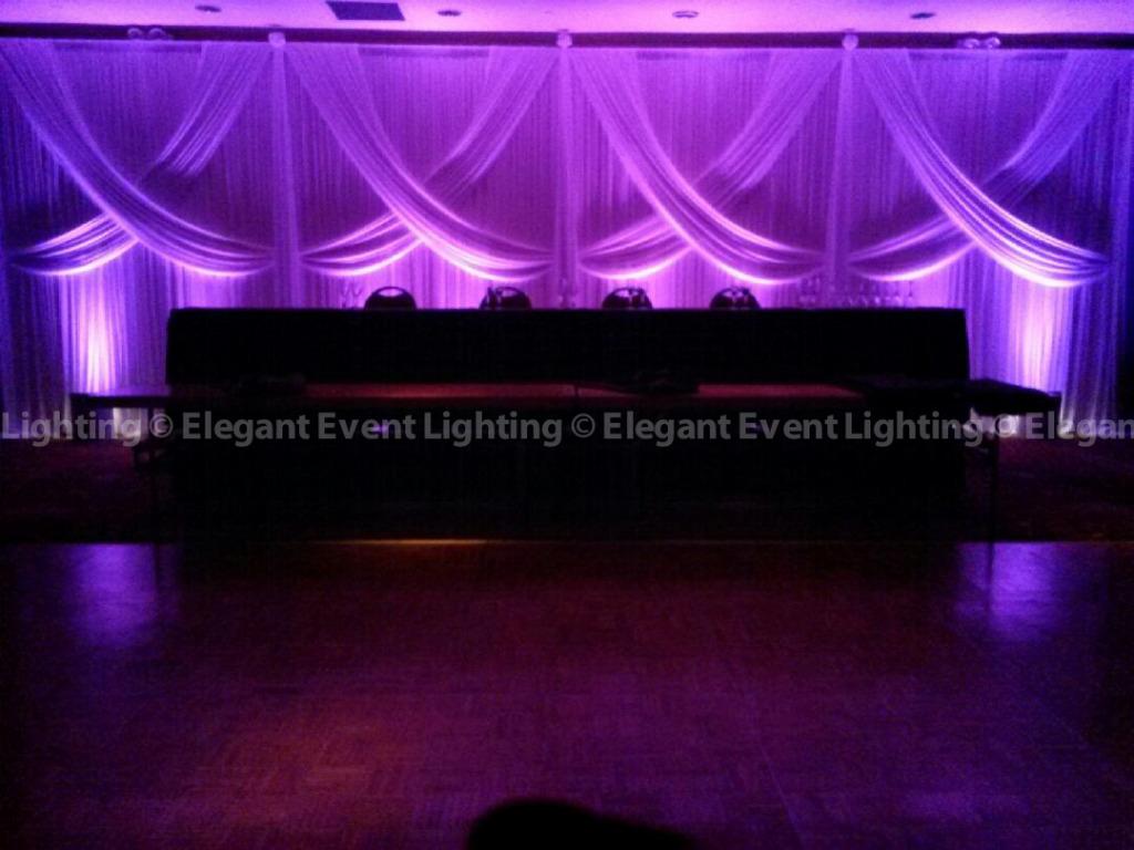 Head Table Backdrop & Purple Uplighting | Hilton Garden Inn St. Charles