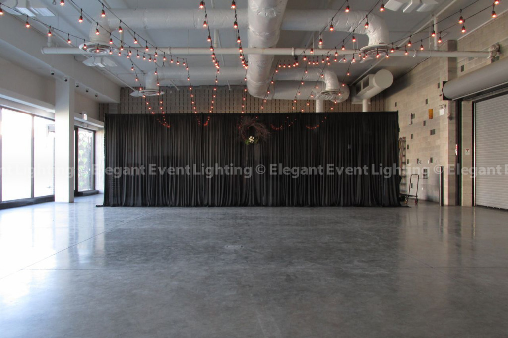 Ceremony Backdrop & Cafe Globe Lights | Ignite Glass Studios