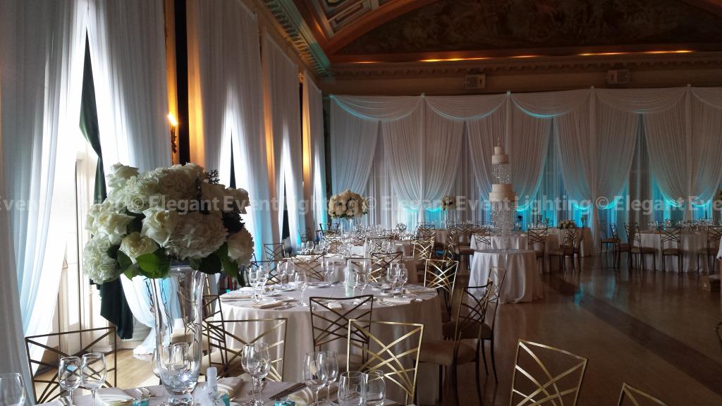 Wall Draping & Tiffany Blue Uplighting | Medinah Country Club