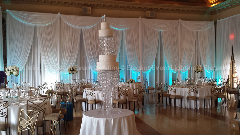 Wall Draping & Tiffany Blue Uplighting | Medinah Country Club