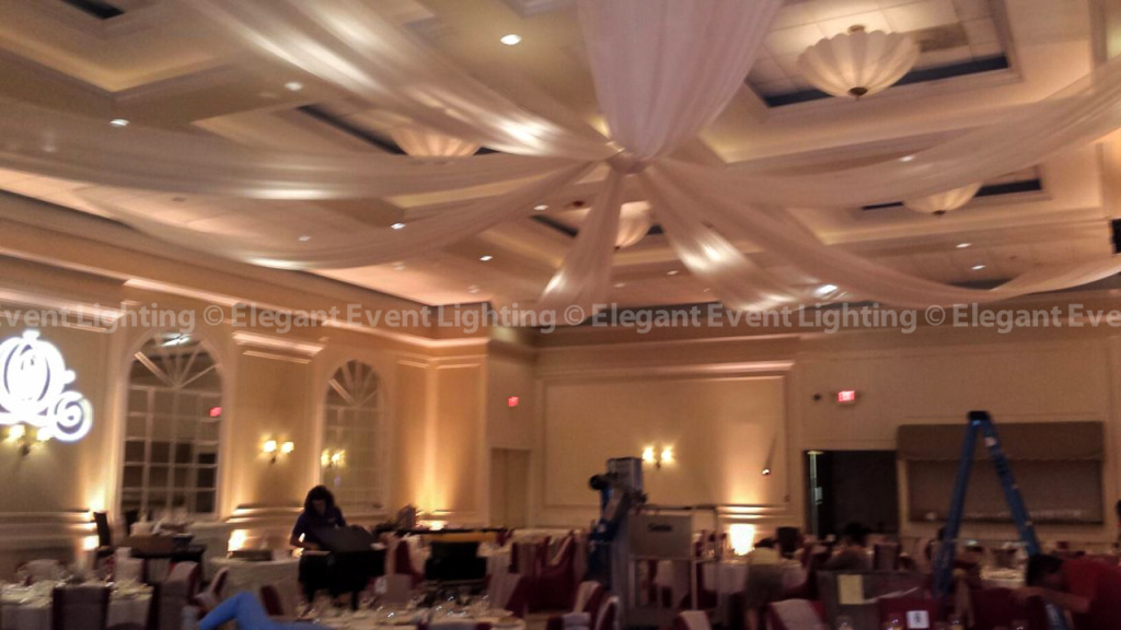 Ceiling Canopy, Room Uplighting & Custom Illuminated Monogram | Venuti's