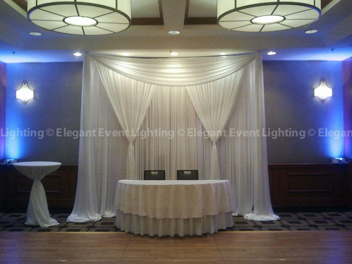 Sweetheart Table Backdrop & Deep Purple Uplighting | Embassy Suites State Street