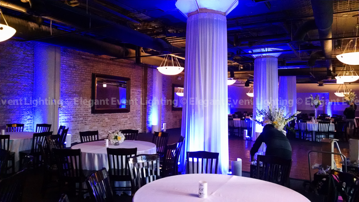 Column Draping & Deep Blue Uplighting | River Roast