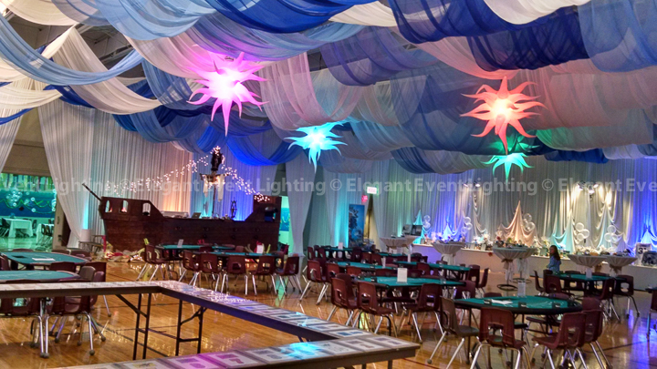 Ceiling Draping & Jellyfish Lighting | St. Thomas More School Casino Night