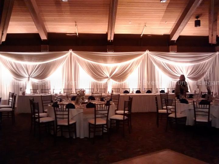 Ivory Head Table Backdrop & Amber Uplighting | Trillium Ballroom - Indian Lakes Resort