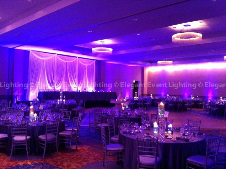 White Head Table Backdrop & Purple Uplighting | Renaissance Hotel Schaumburg