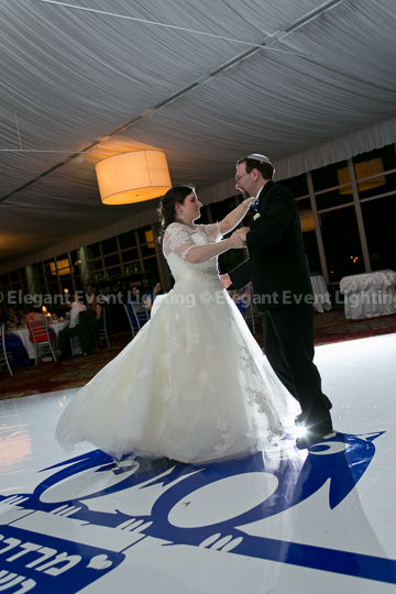 White Dance Floor & Custom Monogram | Lincolnshire Marriott Resort