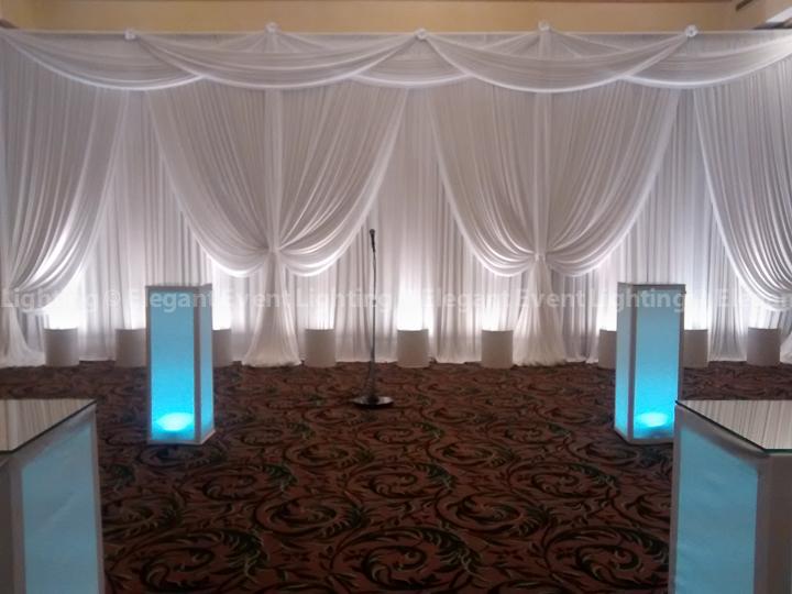 Ceremony Backdrop & Lighted Flower Pedestals | Ashton Place