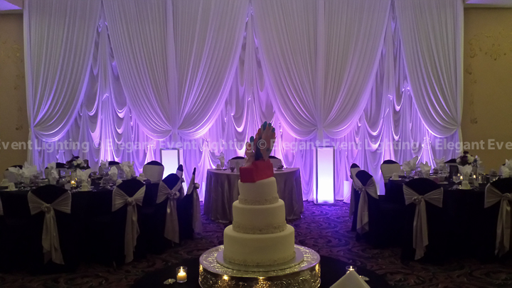 Sweetheart Table Backdrop, Uplighting & Lighted Flower Pedestals | Ashton Place