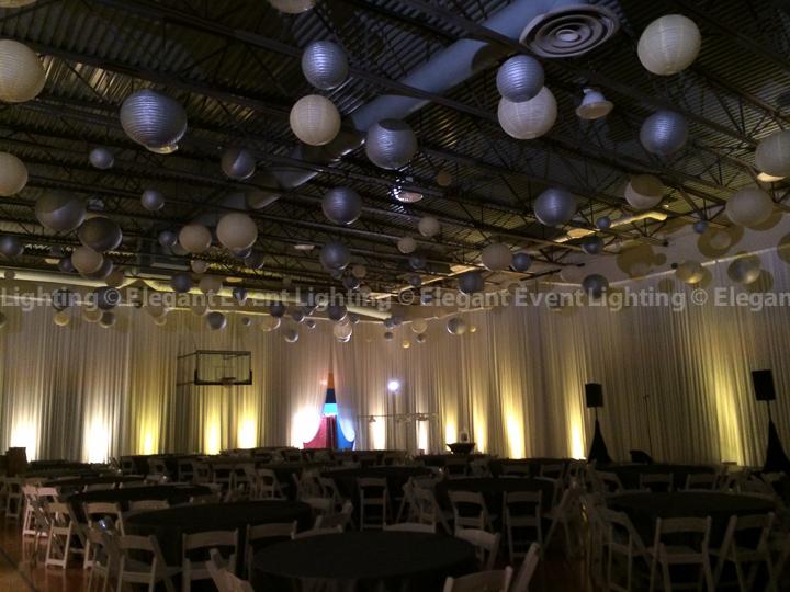 Paper Lanterns, Room Draping & Uplighting | Hillel Torah North