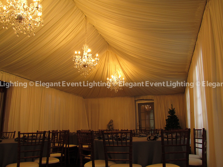 Tent Draping, Ceiling Wash & Crystal Chandeliers | Tent Wedding