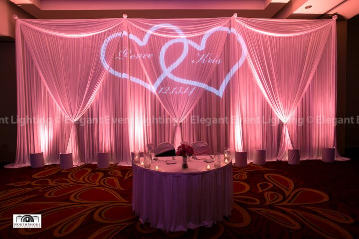 Sweetheart Table Backdrop, Vibrant Pink Uplighting & Custom Monogram | Marriott Schaumburg