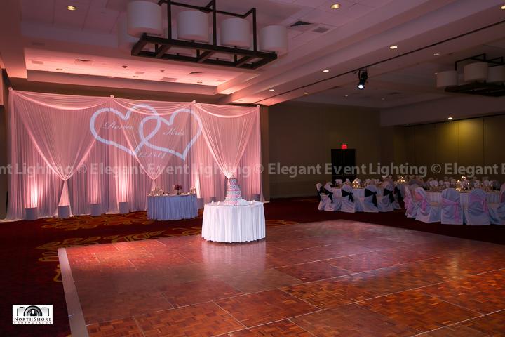 Dance Floor Lighting & Sweetheart Table Backdrop | Marriott Schaumburg