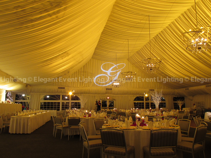 Gold Tent Ceiling Wash & Custom Illuminated Monogram | Westin Chicago Northwest