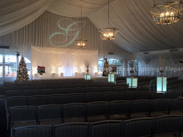 Ceremony Backdrop, Lighted Flower Pedestals & Stage Cover | Westin Chicago Northwest