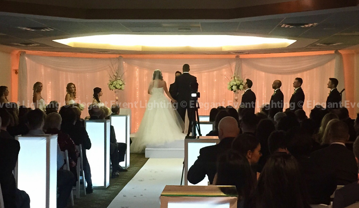 Ceremony Fairy Light Backdrop, Lighted Pedestals, Stage Cover & Aisle Runner | Hilton Oak Brook Hills Resort