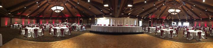 Signature Fairy Light Backdop & Red Room Uplighting | Indian Lakes - Trillium Ballroom