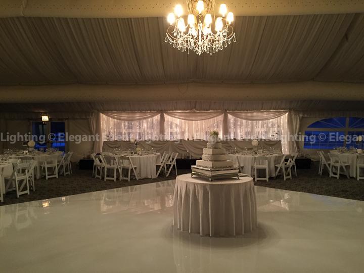 Signature Fairy Light Wedding Head Table Backdrop & White Dance Floor | Hilton Oak Brook Hills Resort