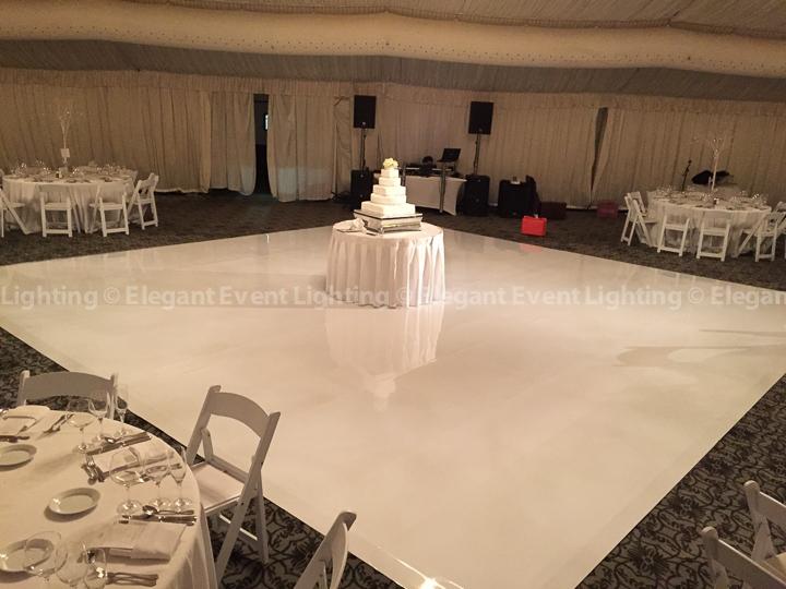 White Vinyl Dance Floor with Soft Downlighting | Hilton Oak Brook Hills Resort
